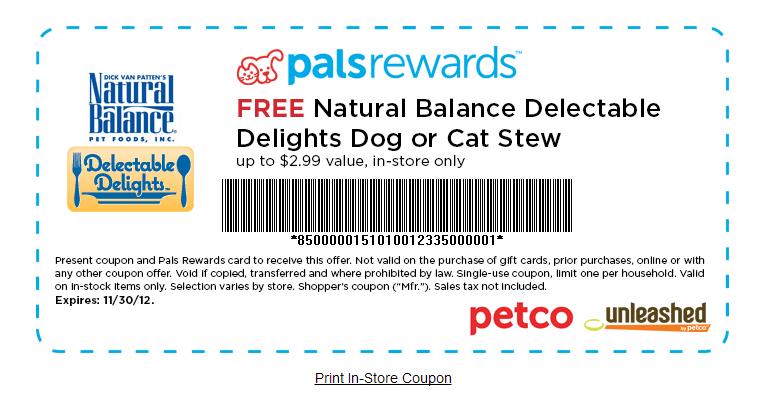 Natural Balance Dog Food Coupons Petco