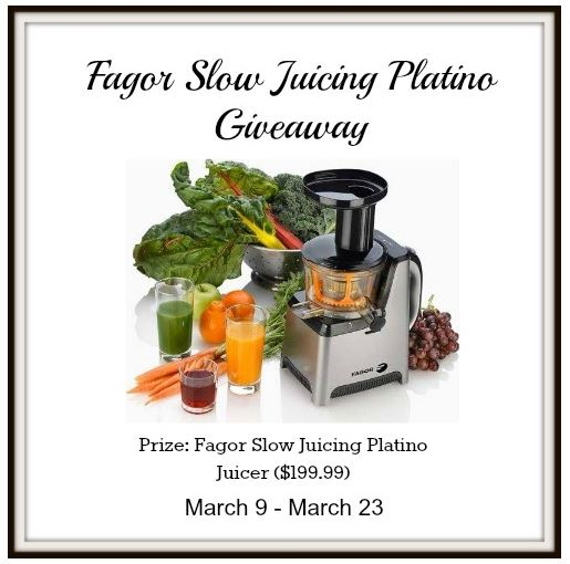 Fagor Slow Juicing Platino Juicer Giveaway (Ends 3/23/14) - It s Free At Last