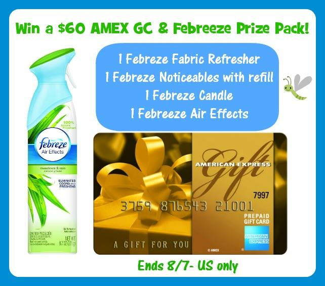 Febreze Prize Pack & $60 AMEX Gift Card Giveaway ends 8/7
