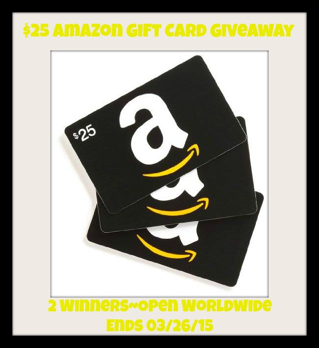 Enter the $25 Amazon Gift Card Giveaway. Ends 3/26