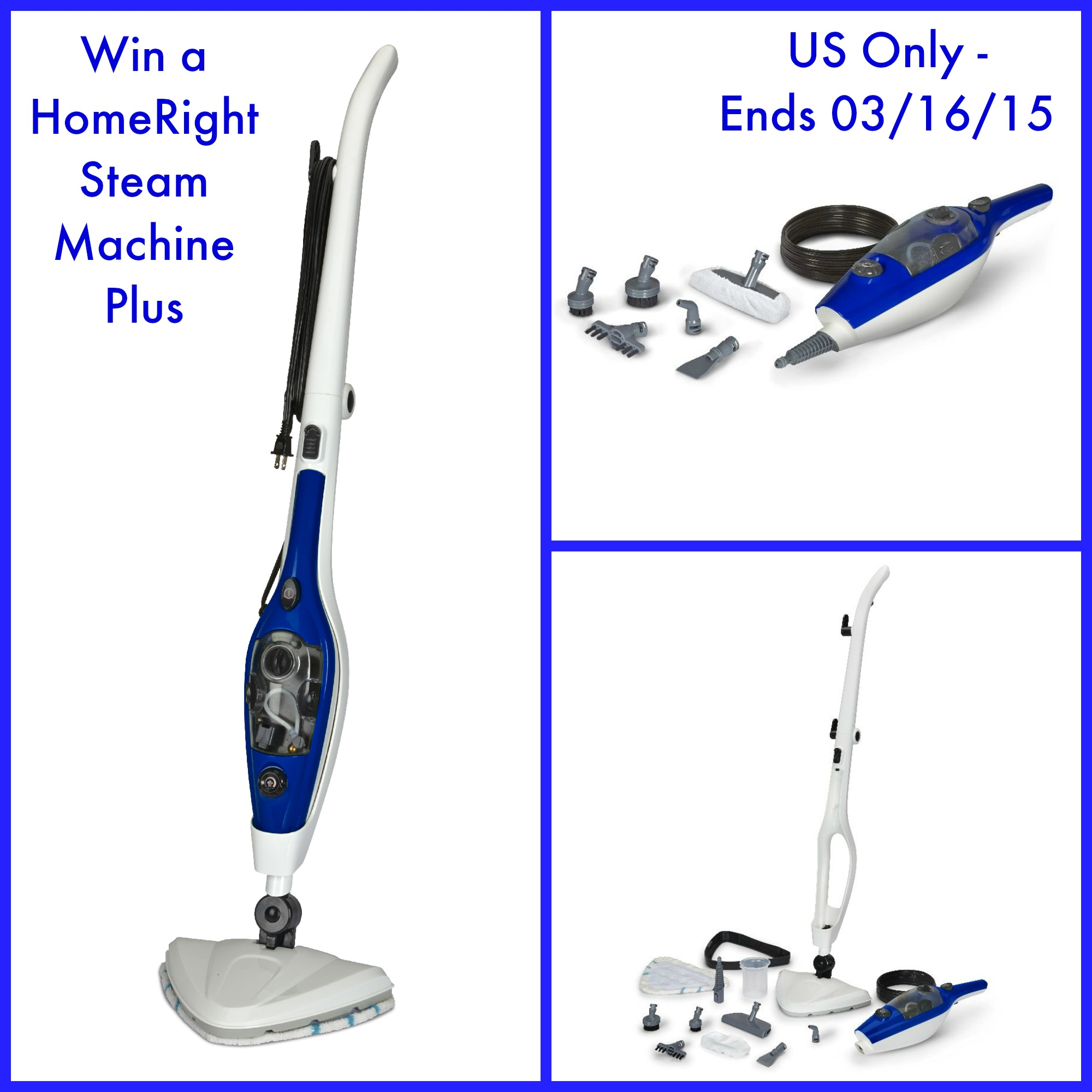 Enter the HomeRight SteamMachine Plus Multi-Purpose Steam Mop Giveaway. Ends 3/16