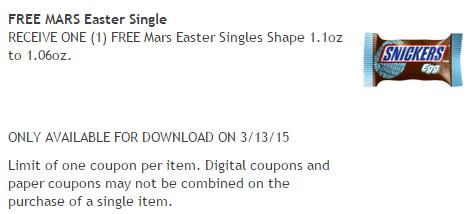 kroger friday freebie for 3 13 15 free mars easter egg single