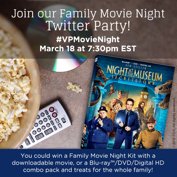 """Night at the Museum: Secret of the Tomb"" #VPMovieNight Pre-Twitter Party Giveaway"