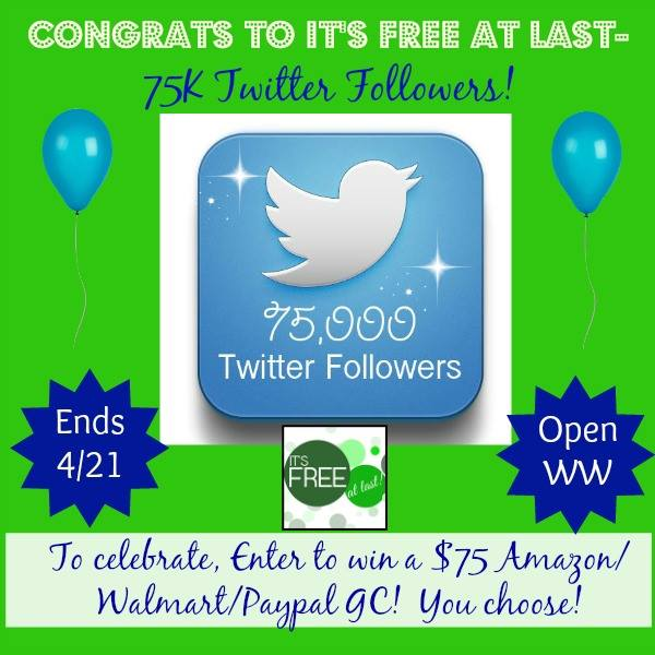 Enter the It's Free at Last 75,000 Twitter Follower Celebration Giveaway. Ends 4/21