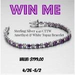 WIN a Sterling Silver 4.41 CTTW Amethyst & White Topaz Bracelet (Ends 05/02/15)