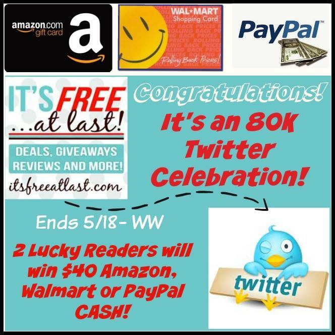 Enter the 80K Twitter Celebration Giveaway. Ends 5/18