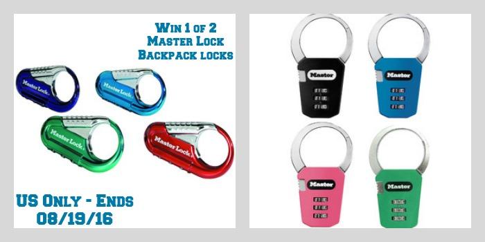 Enter the Master Lock Backpack Locks Giveaway. Ends 8/19