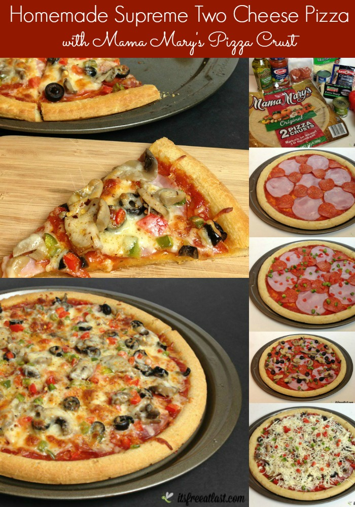 Homemade Supreme Two Cheese Pizza - Easy Homemade Pizza featuring Mama Mary's Pizza Cust