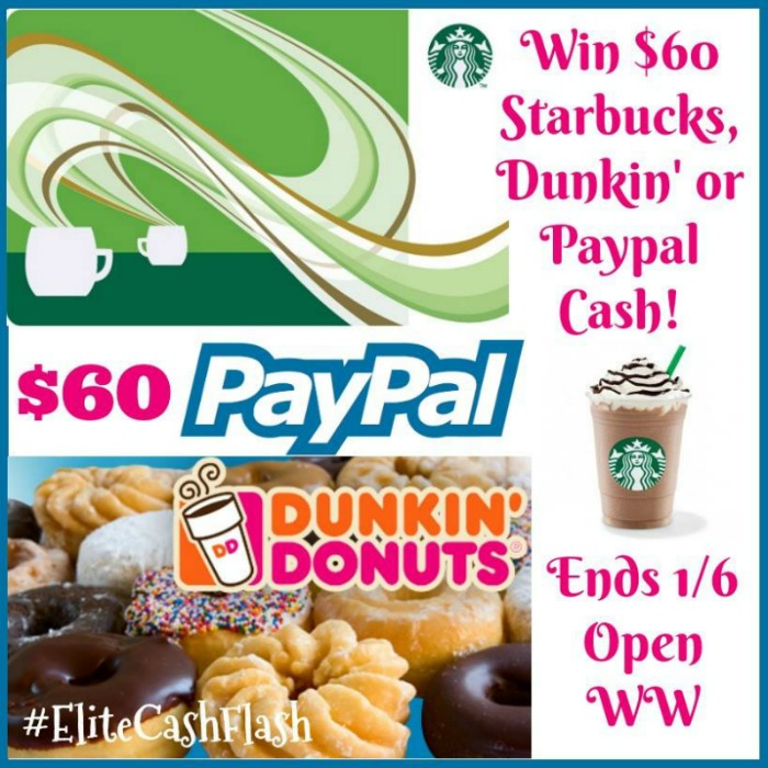 $60 Starbuck, Dunkn or Paypal giveaway button