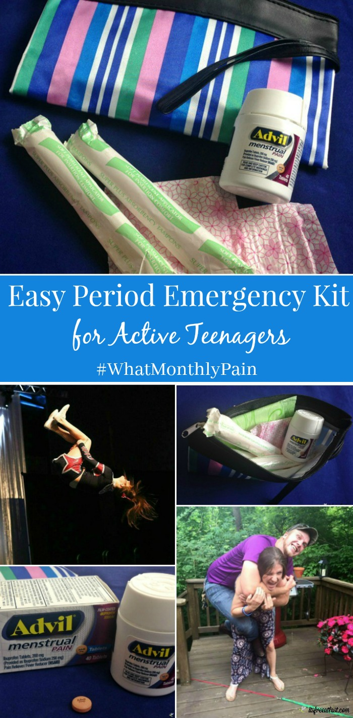 Easy Period Emergency Kit for Active Teenagers #WhatMonthlyPain