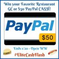 $50 Favorite Restaurant GC or Paypal Cash Giveaway!