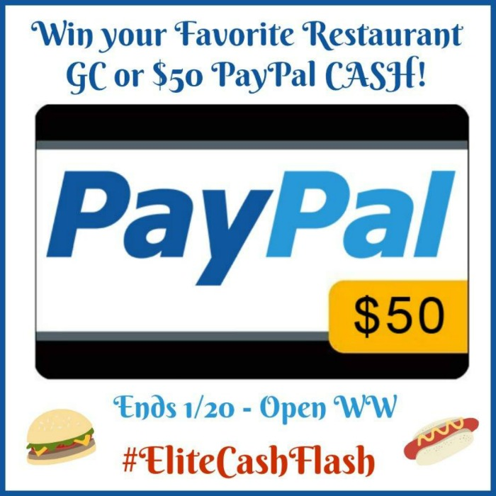 $50 Favorite Restaurant or Paypal Cash Giveaway