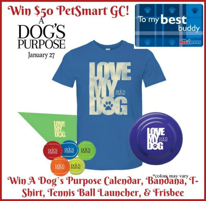 $50 PetSmart GC AND A Dog's Purpose Prize Pack Giveaway