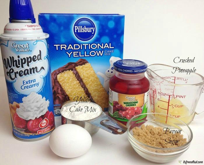 Pineapple Upside Down Mug Cakes ingredients