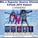 Superior Source Vitamin 5-Pack ($75 Value) Giveaway! 2 Winners! #SuperiorSource
