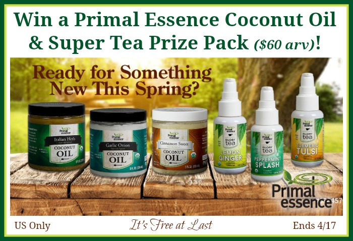 Primal Essence Coconut Oil and Super Tea Prize Pack Giveaway button