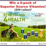 """Win a 6-pack of Superior Source Vitamins ($90 value) and """"Stress Less 4 Health""""! #SuperiorSource"""