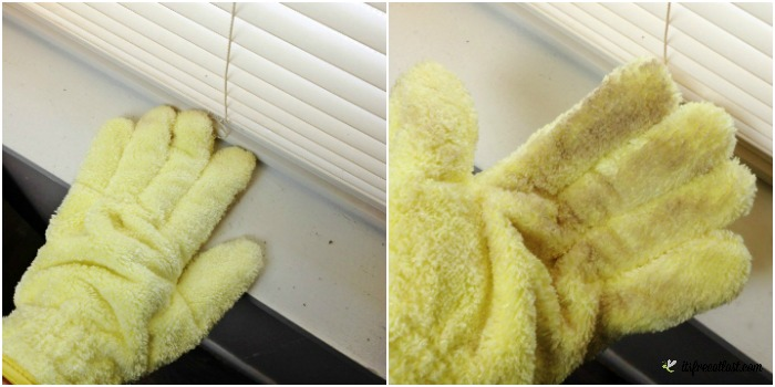 e-cloth High Performance Dusting Glove cleans windowsills