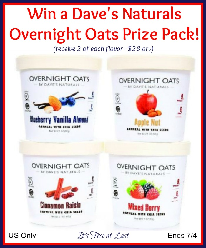 Dave's Naturals Overnight Oats Prize Pack Giveaway button