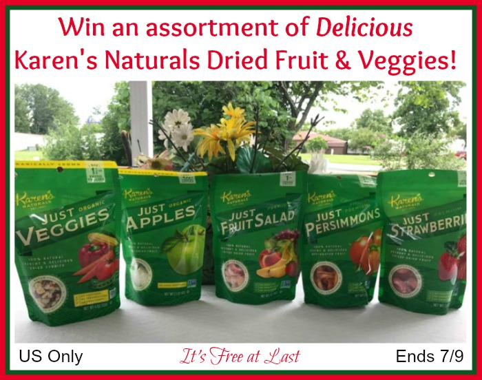 Karen's Naturals Dried Fruit and Veggies Giveaway