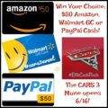 #Win $50 Amazon, Walmart GC or $50 PayPal Cash!