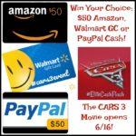 #Win $50 Amazon, Walmart GC or $50 PayPal Cash!
