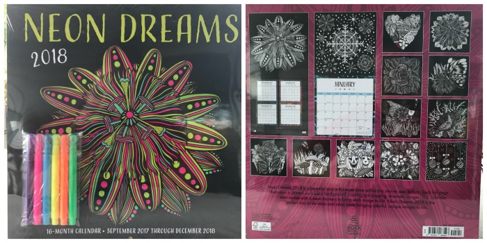neon dreams 2018 16 month calendar includes september 2017 through december 2018