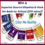 Win a Superior Source Vitamins 6-Pack ($70 Value) and Color Them Healthy for Back to School #SuperiorSource