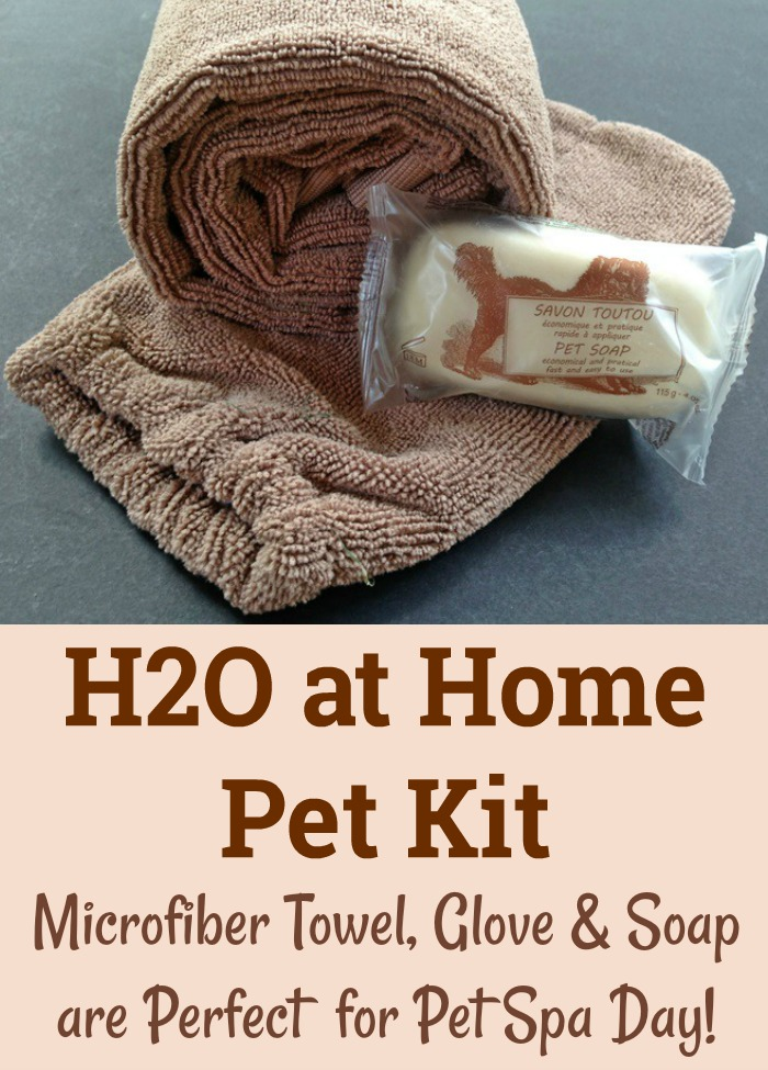H2O at Home Pet Kit with Microfiber Towel, Glove & Soap for the Perfect Pet Spa Day!