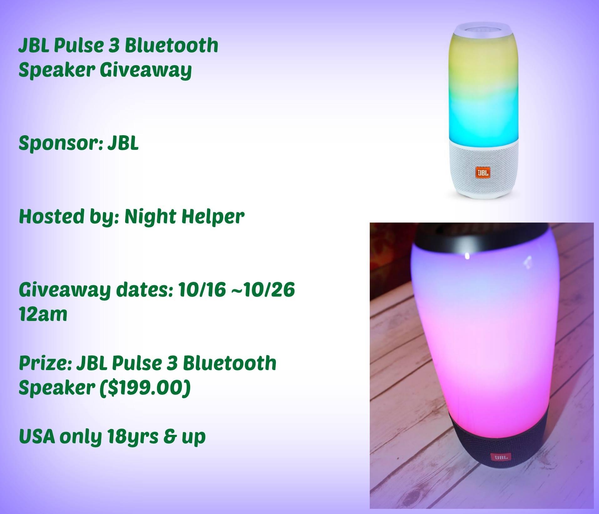Jbl pulse 3 bluetooth speaker giveaway it 39 s free at last for Housse jbl pulse 3