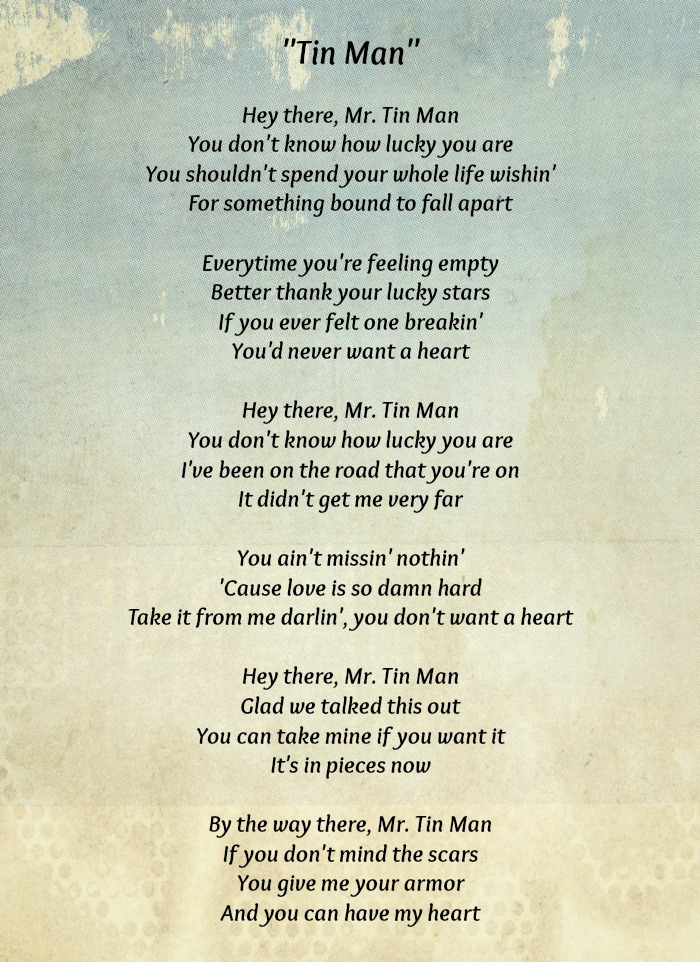Love is amazing until your heart is broken listen to for Words to tin man by miranda lambert