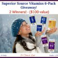 Superior Source Vitamins 6-Pack ($100 Value) Giveaway – 2 winners! #SuperiorSource