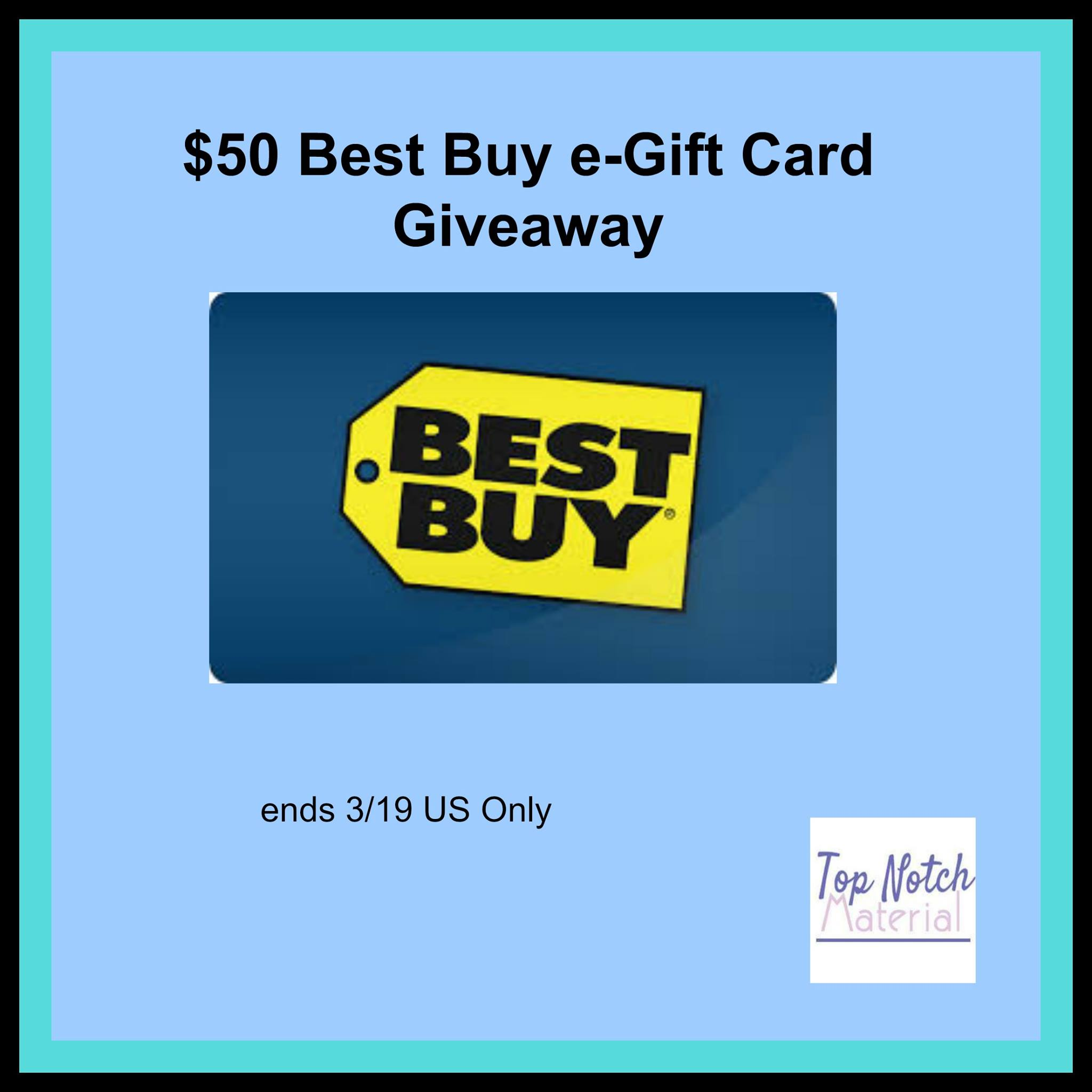Enter to win a 50 best buy gift card its free at last could you use an extra 50 gift card to best buy katrina over at top notch material wanted to give you a late winterearly spring gift and we wanted to negle Image collections