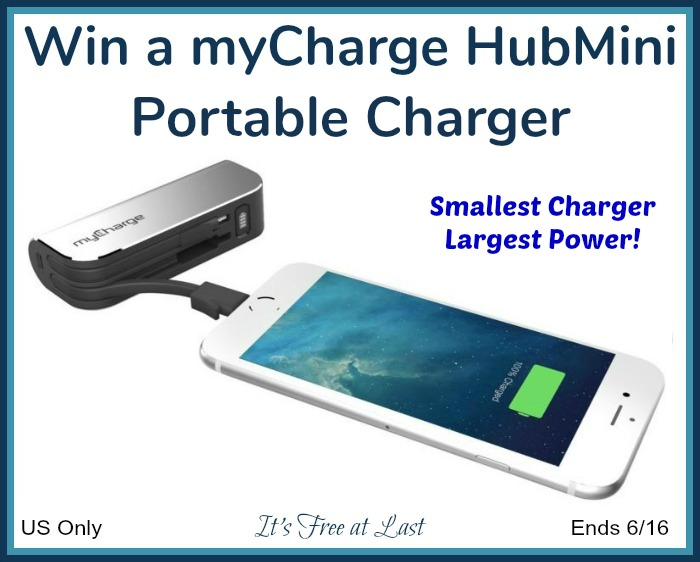 myCharge HubMini Portable Charger giveaway button