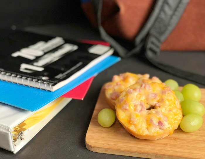 Ham & Cheese Bagels with school supplies