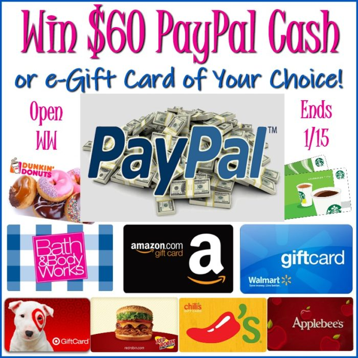 Win $60 paypal cash or gc of choice