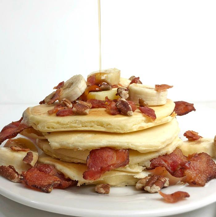 Nutty Bacon Banana Pancakes
