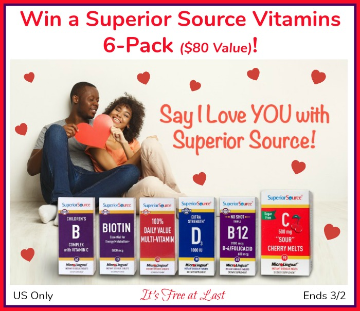 "The Perfect Gift to Say ""I Love YOU""! Win a Superior Source Vitamins 6-Pack ($80 Value)! #SuperiorSource"