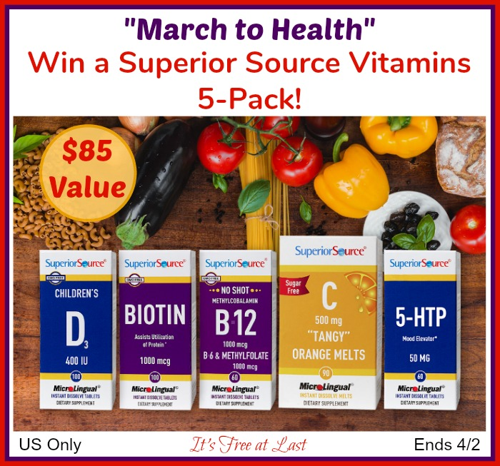 "Win a ""March to Health"" Vitamins 5-Pack ($85 Value)! #SuperiorSource"